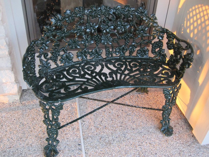 Sandblasted/powder coated aluminum love seat ... circa about 1962 (used to have white peeling paint.)