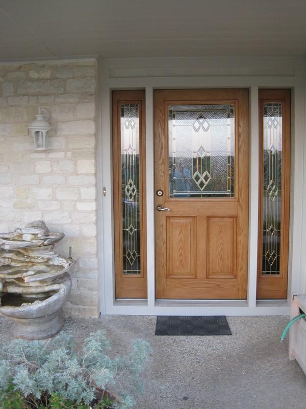 Front door with Hardie Trim and new light