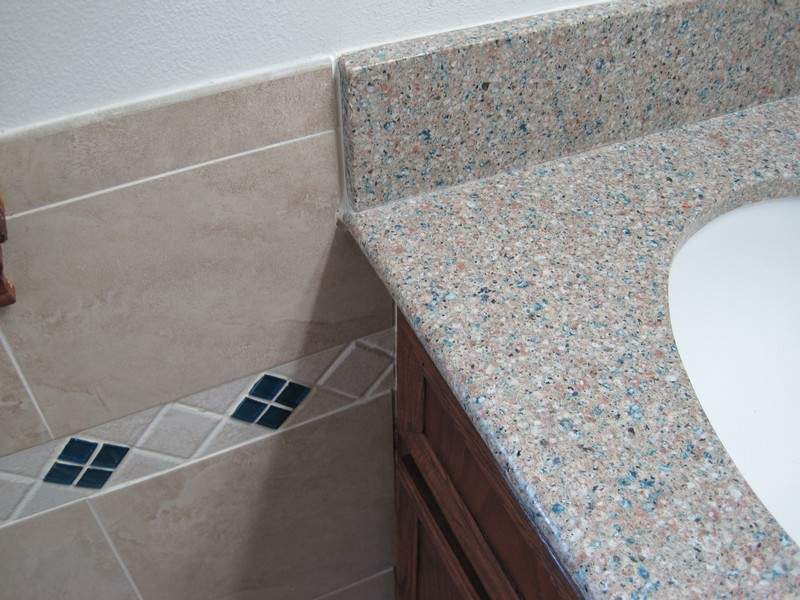 Detail where counter meets wall tile
