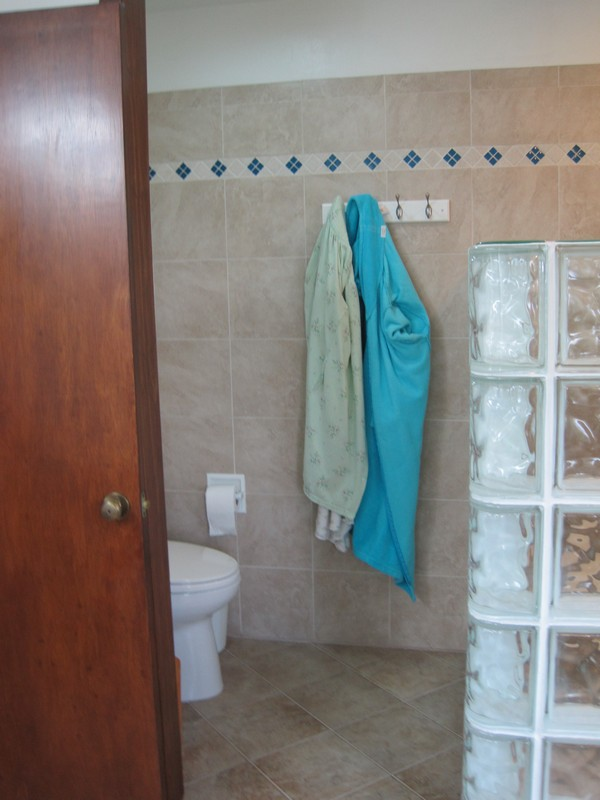 From sink area viewing shower & toilet areas