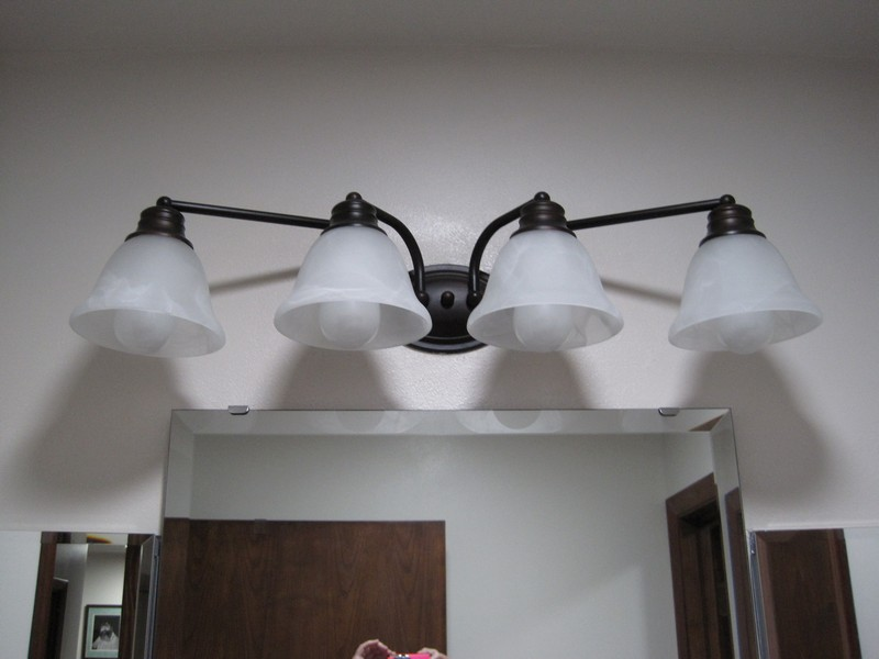 The light fixture over the sink area
