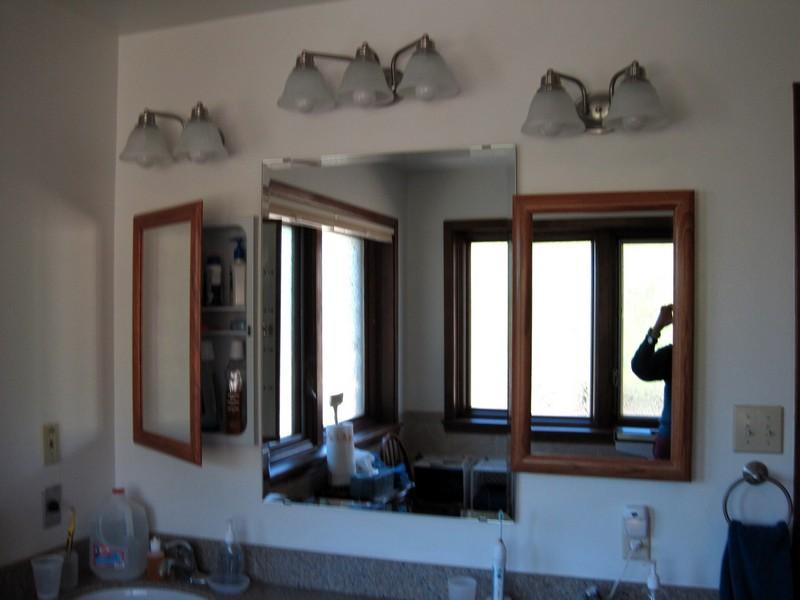 Small Mirrors are recessed medicine cabinets.