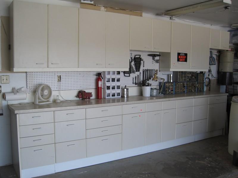 The kitchen cabinets reborn in the garage