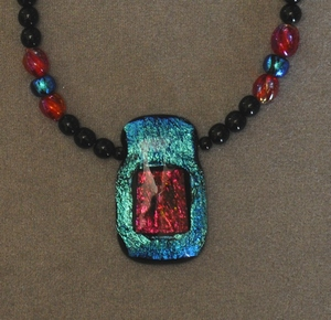 Dichroic Glass and Glass necklace.
