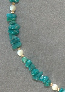 Russian Amazonite and Mother of Pearl with 14K Rolled Gold